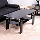 BTM New Tempered Glass Coffee table Style Furniture Modern Glass Tabletops with Black Wood Legs (Black)