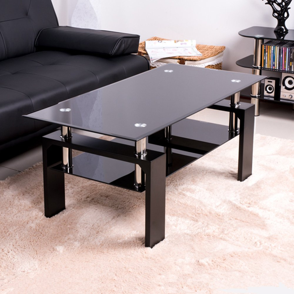 modern glass furniture. btm new tempered glass coffee table style furniture modern tabletops with black wood legs amazoncouk kitchen u0026 home e