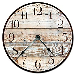 RUSTIC TAN WOOD CLOCK Extra Large 15.5 to 16 Wall Clock - Decorative Round Wall Clock - PRINTED WOOD IMAGE