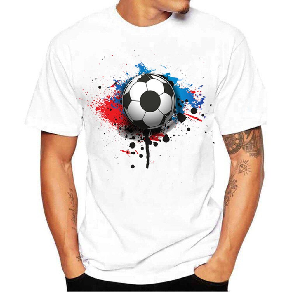 Corriee Men Shirt T-Shirts for Men Fashion Football Print Short Sleeve Tees Tops Blouse White