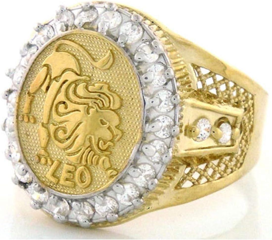 Jewelry Liquidation 10k Solid Yellow Gold Mens Zodiac CZ Ring - Leo