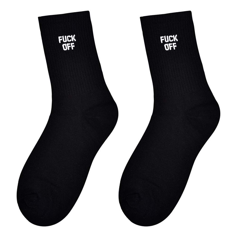 YANXUAN 2 Pairs Unisex Fuck Off Socks Funny Letter Print Casual Sport Cotton Ankle Socks