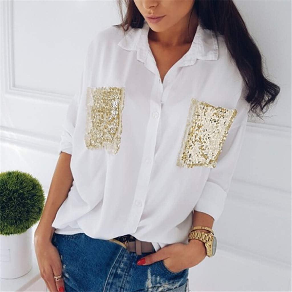 Luckycat Mujeres V Cuello Blusa Pura Atractiva Grandes Suaves Ladies Sueltas Camisas de Bolsillo Tallas Tops Camisa de Manga Larga: Amazon.es: Ropa y accesorios