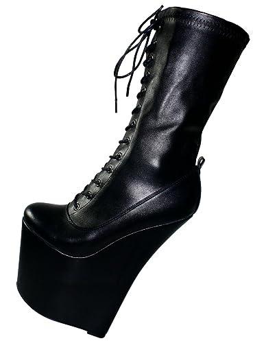 Erogance Lack Extrem Plateau High Heels Stiefeletten - Botas de Material Sintético Para Mujer 41, Color Negro, Talla 36