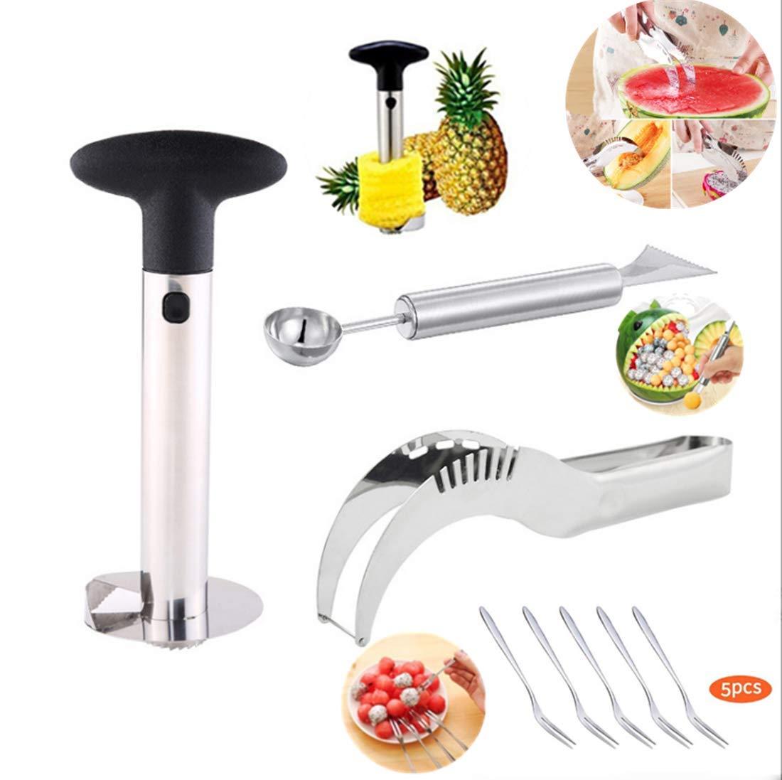 Pineapple corer,watermelon slicer, carving knife stainless steel fruit tool kitchen gadget 5 pack fruit fork (1) by JOY LI