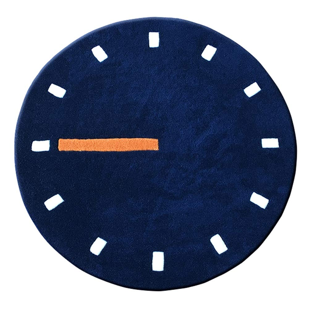 ZCXBB Nordic Style Watch Clock Living Room Round Carpet Simple Fashion Bedroom Bedside Computer Chair Blanket Handmade Thickening (Color : Blue, Size : XXL)