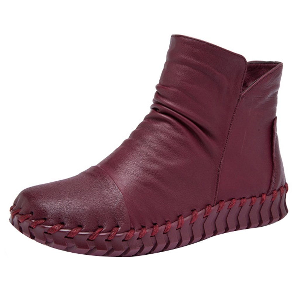 Mordenmiss Women's New Fall Winter Martin Flat Plain Toe Boots-Style 2-40-Fleece Burgundy