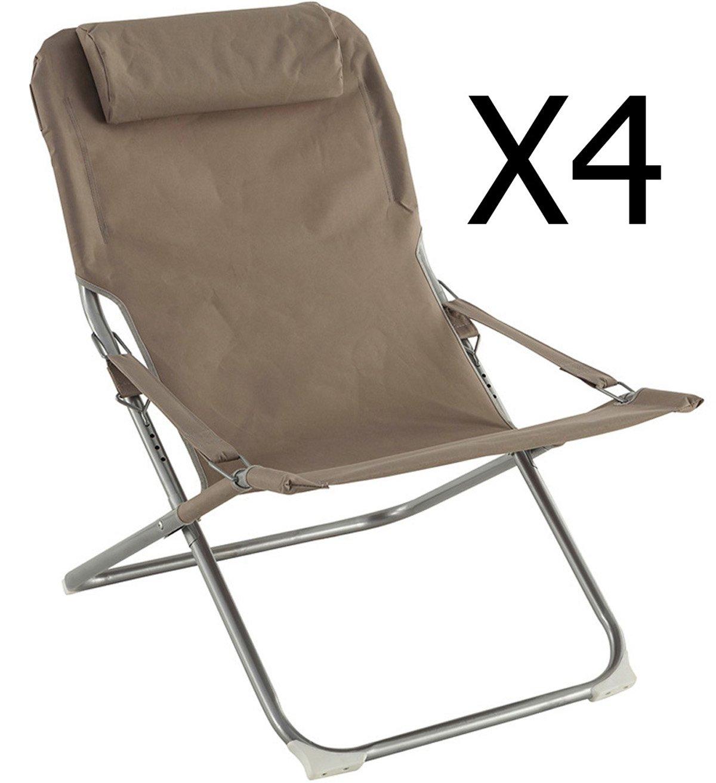 PEGANE Lot de 4 fauteuils Relax Coloris Taupe - Dim : L.73 x P.64 x H.83 cm