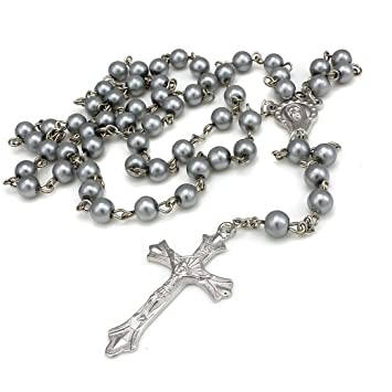 4youquality® Black White Grey Purple Pink Long Rosary Beads Cross In Silver Tone Necklace Chain Jewellery For Women Men Girls lWTE1C6xO