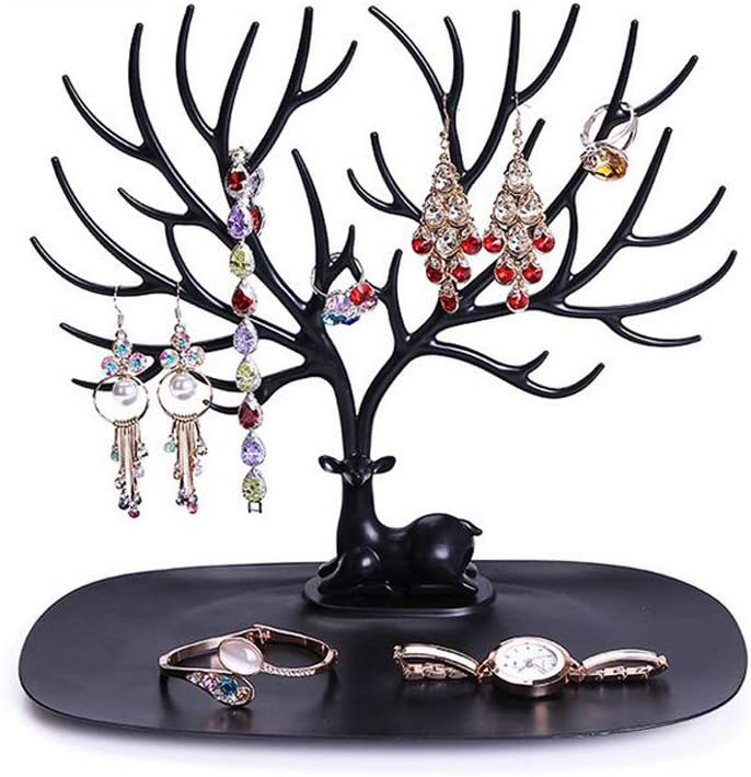 S, White Jewelry Tree Stand Organizer Jewelry Display Tray Sika Deer Tree Jewellery Holder Hanger for Necklaces Bracelet Earrings Birthday Gifts Jewellery Stand Rack Storage
