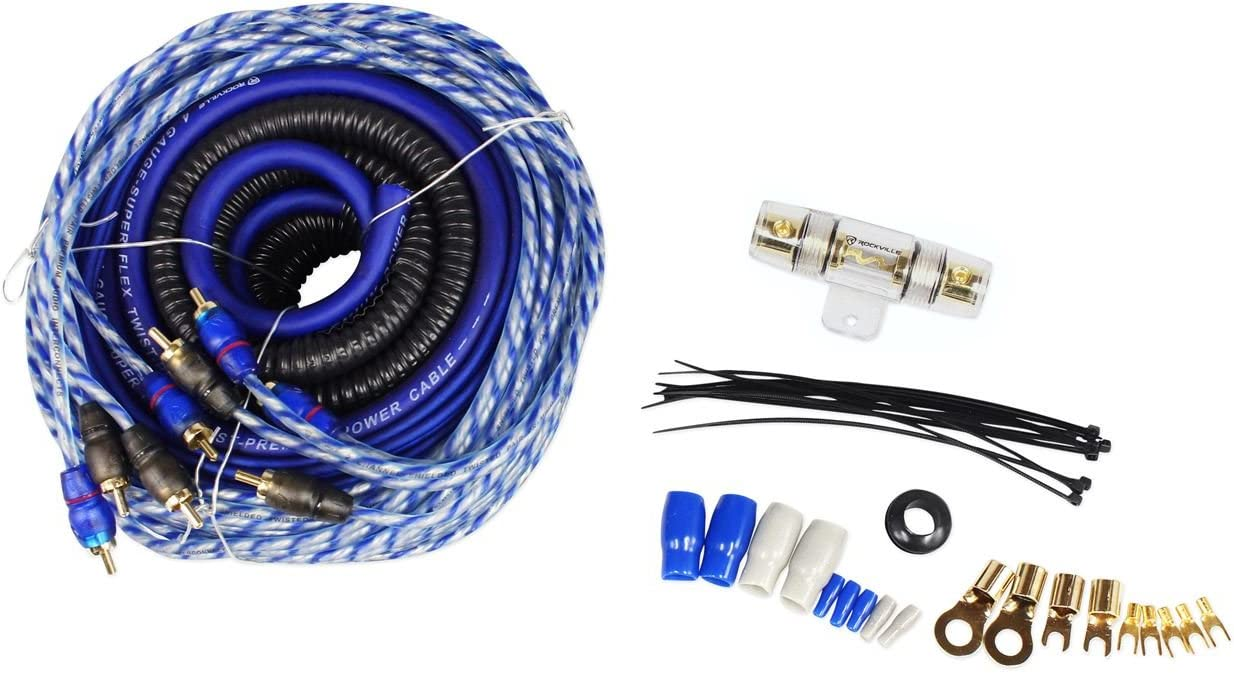B019Z3RAVE Rockville RWK42 4 Gauge 4 Chan Car Amp Wiring Installation Wire Kit (2) RCA's 6192Ge0wbzL