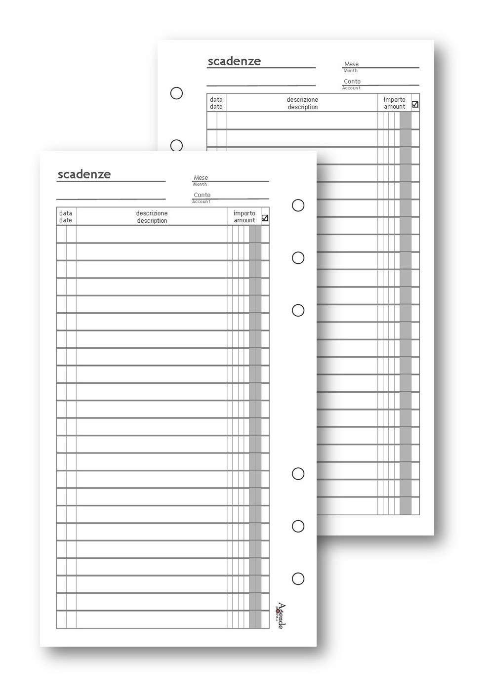 Repuesto hojas calendario 9,5 x 17 50 hojas para agenda ...