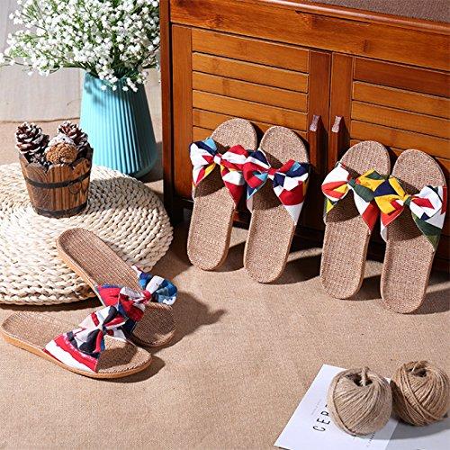 TM Pantoufles Vacances de de Ouverts Fleur Chaussons 3 d'été Maison Jipai Chaussures Sol Lin Sandales Femmes Antidérapant Chambre 0ad0wq