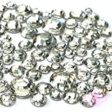 400 pcs 2mm - 6mm Resin clear crystal round Rhinestones Flatback Mix SIZE ~ M1-23