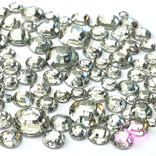 400 pcs 2mm - 6mm Resin clear crystal round Rhinestones Flatback Mix SIZE ~ M1-23