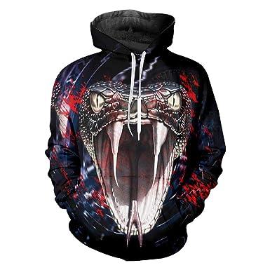 eb61585a4f64 Men s Cool Print Snake 3D Sweatshirt Hoodie Hip Hop Streetwears Long Sleeve  Hooded Hoody Pullovers Black