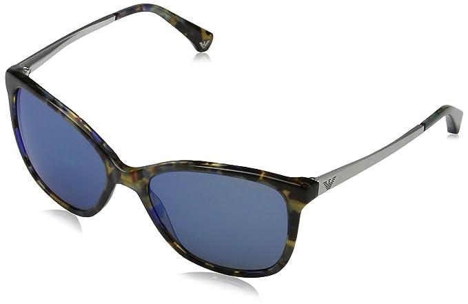 Emporio Armani 0EA4025 Gafas de sol, Havana Spot Blue, 55 ...