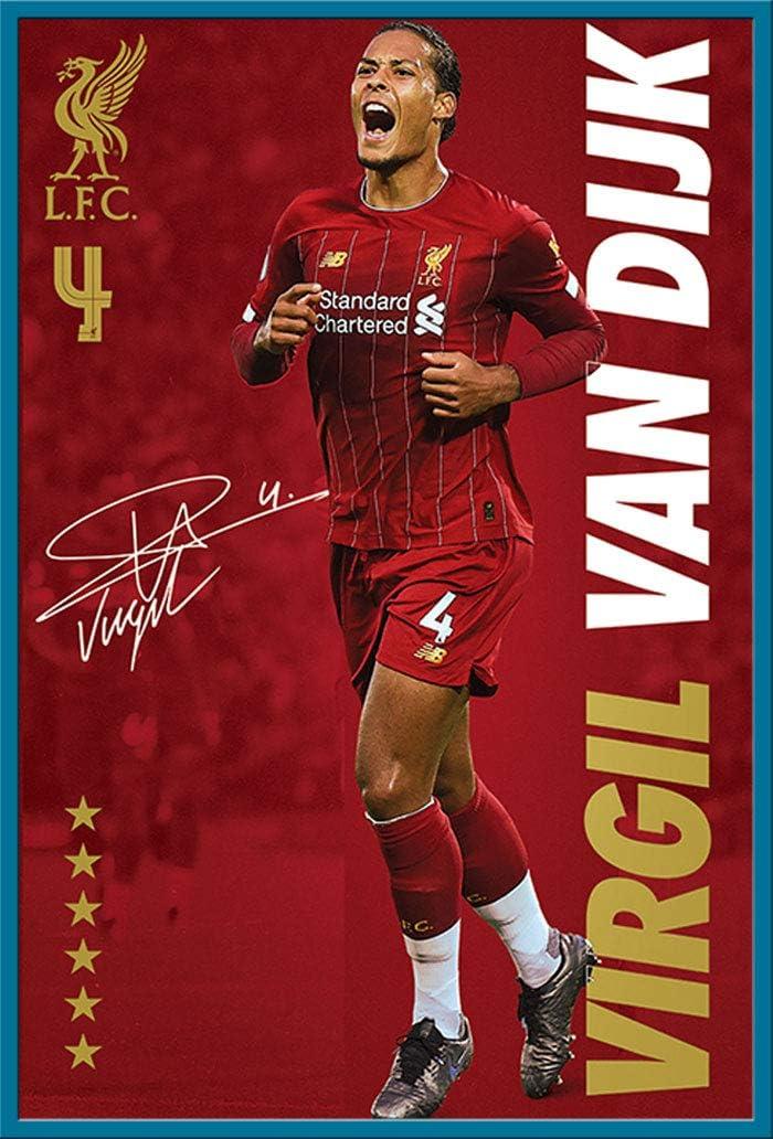 Sport Fu/ßball Poster Druck Virgil Van Dijk FC Liverpool Fu/ßball Shinsuke/® Maxi Aluminium schwarz Gr/ö/ße 61x91,5 cm Wechselrahmen