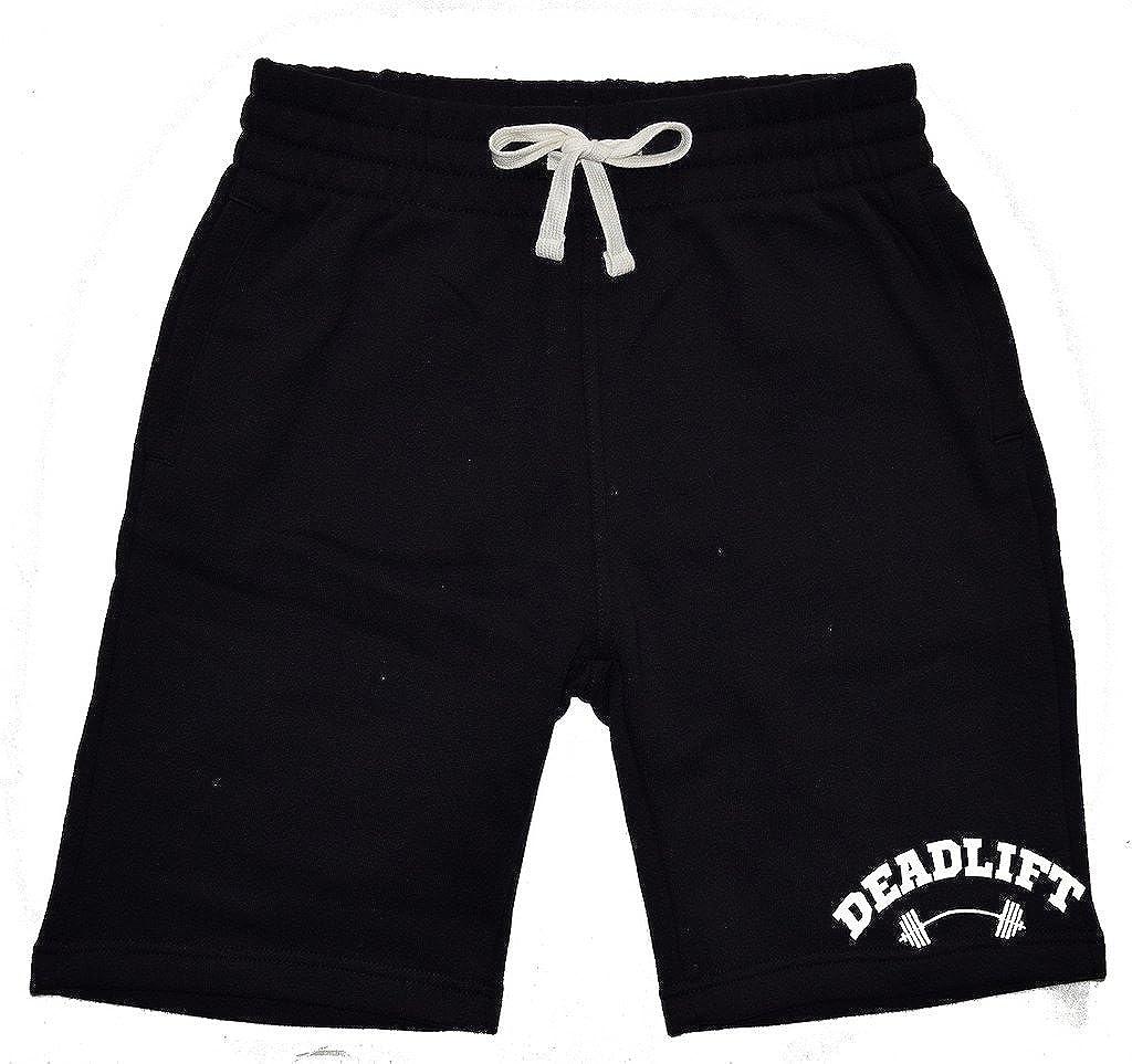 Interstate Apparel Mens Deadlift Dumbbells V547 Black Fleece Jogger Sweatpant Gym Shorts