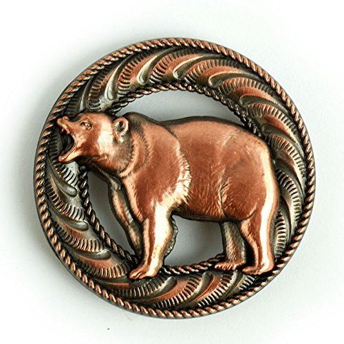 (Bellowing Bear Screwback Conchos with an Antique Copper Finish.)