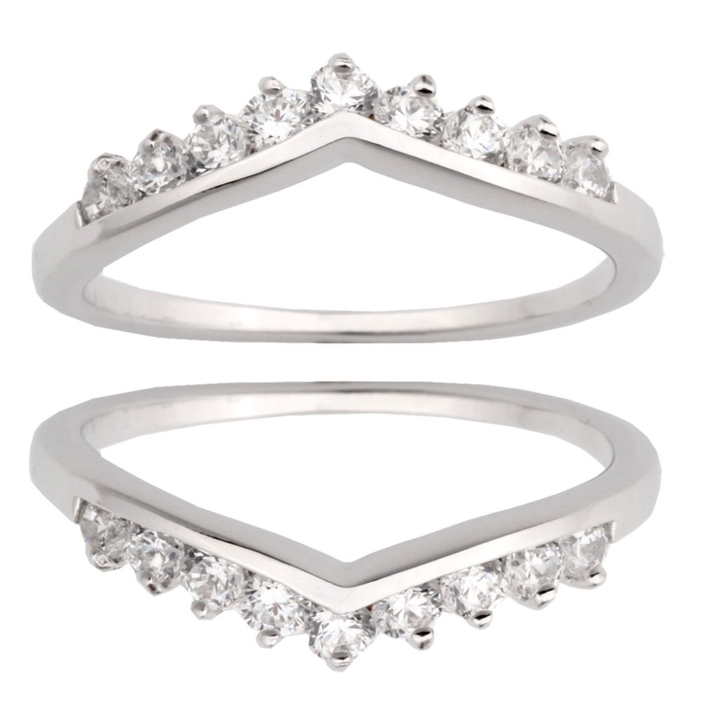Two Pieces Sterling Silver 925 Round Shape Cubic Zirconia Wedding Ring Guard Size 6