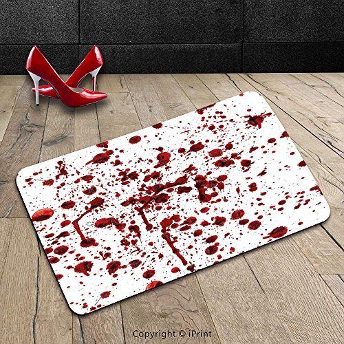 Custom Machine-washable Door Mat Bloody Splashes of Blood Grunge Style Bloodstain Horror Scary Zombie Halloween Themed Print Decor Red White Indoor/Outdoor Doormat Mat Rug Carpet