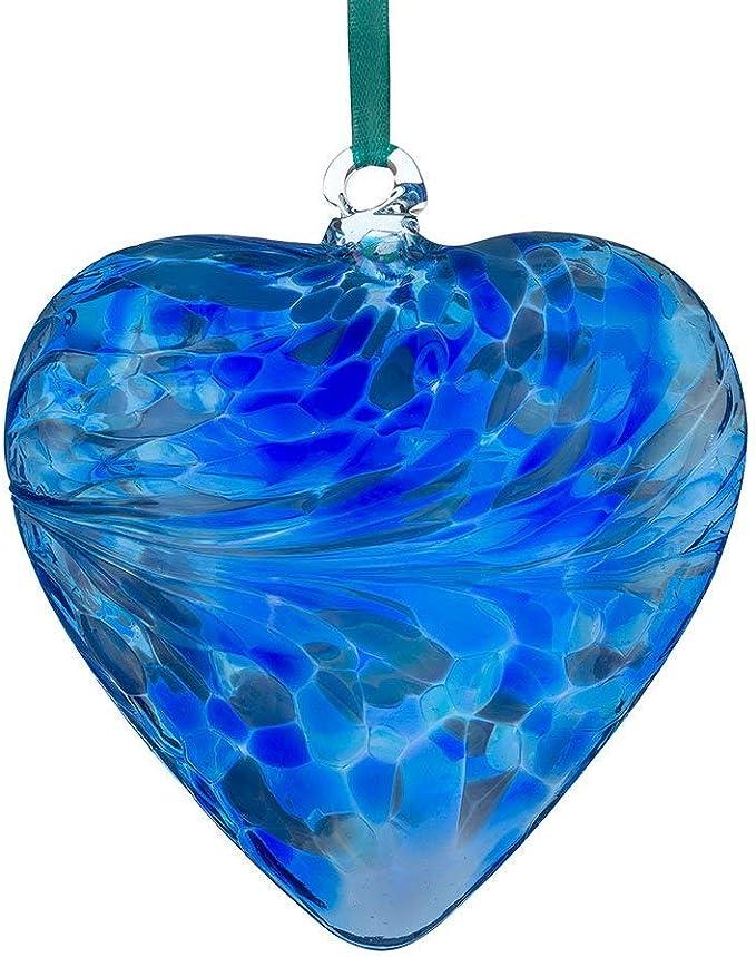 Sienna verre 8 cm Amitié Coeur Rose pastel Coffret Cadeau Ornement Glass Bauble
