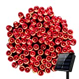 Outdoor Solar String Lights,8 Modes WONFAST Waterproof 72ft 200led Solar Christmas Fairy Lights Ambiance Lighting for Camping, Garden, Patio, Backyard, Fence and Holiday Decorations (Red)