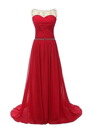 Kiss Dress Scoop Chiffon Beaded Sleeveless Long Prom Dresses L Burgundy