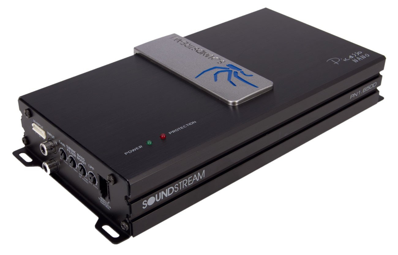 Soundstream PN1.650D 650W Mono Block Picasso Nano Class-D Amplifier, Black and Amp; Silver SOWDU