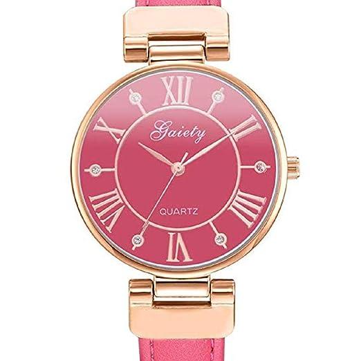 Scpink Relojes de Cuarzo de Las Mujeres de liquidación número Romano Crystal Analog Ladies Relojes Relojes de la Muchacha de Cuero Fino Relojes Femeninos ...