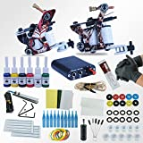 POYING Tattoo Machines Power Box Set 2 guns Immortal Color Inks Supply Needles Accessories Kits Completed Tattoo Permanent Makeup Kit