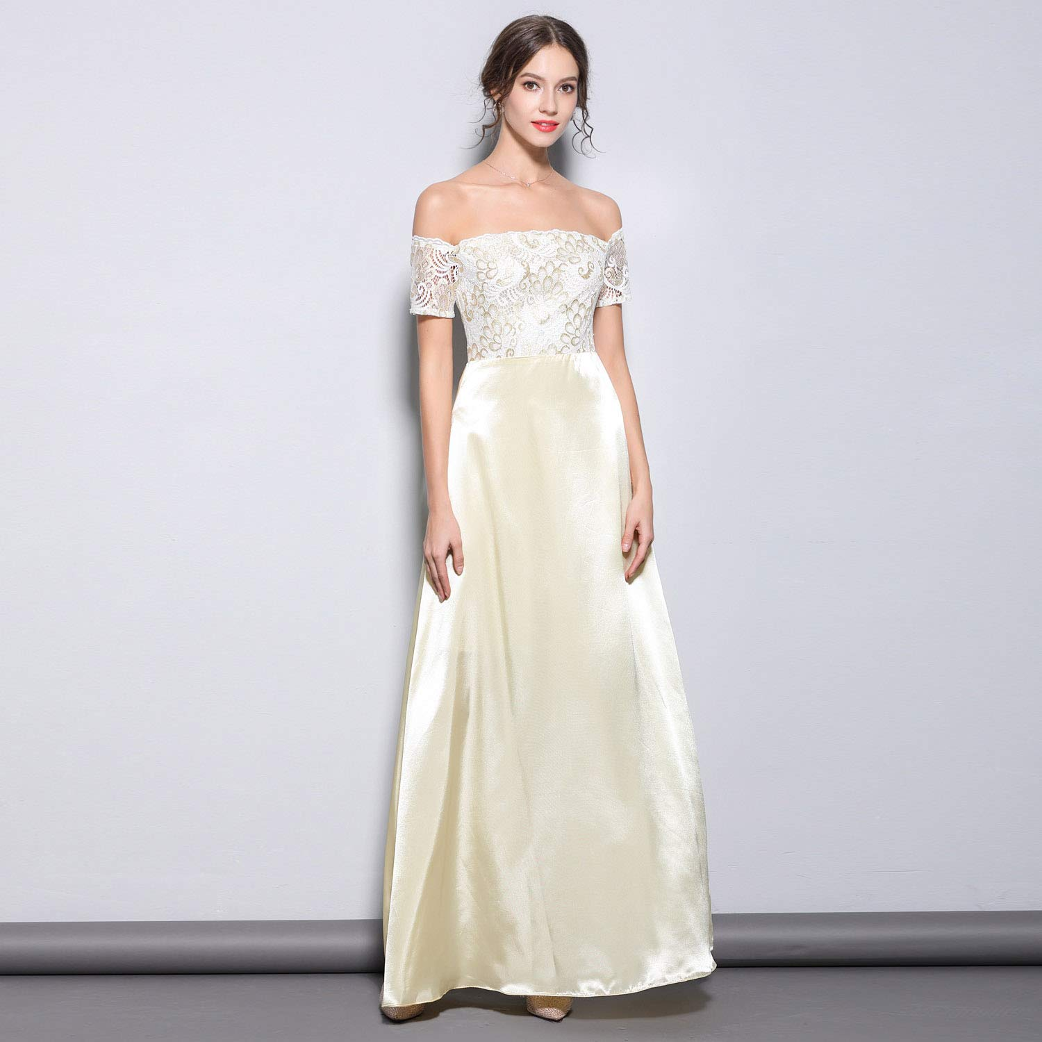 Women's Off Shoulder Satin Lace Evening Dress Elegant Pure color Long Dresses for Ladies Girls Wedding Party Prom Wear,Beige