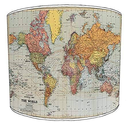 12 Inch Ceiling Stanfords World Map Cavallini Style Drum Shade