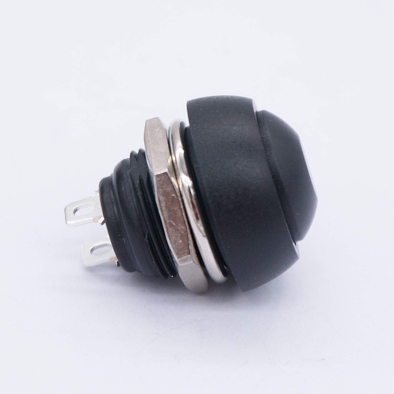 EIN//AUS Taiss// 8 st/ücke 12 MM schwarz Momentanen Druckknopf Wasserdichte Schalter Mini Runde Schalter SPST 2 Pin PBS-33B-M-BK