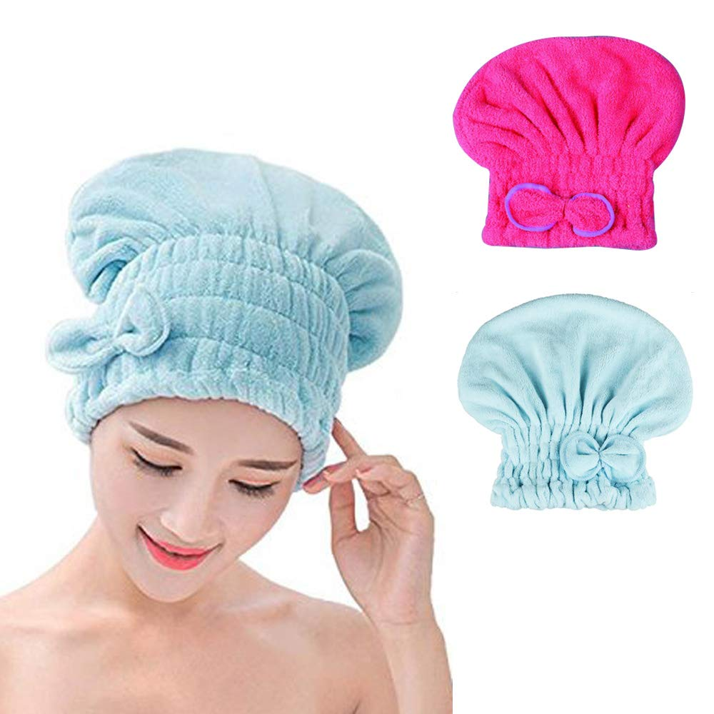 Yugefom Dry Hair Turban Towels 2 Pack, Ultra Absorbent & Fast Drying Microfiber Towel Hair Drying Towel Cap for Women & Girls