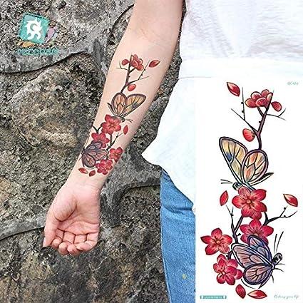 HXMAN Flor Rosa Impermeable Tatuaje Temporal Pegatina Melocotón ...