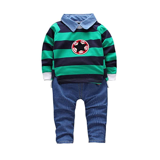 ef616374a Iuhan Toddler Kid Baby Boys Fashion Outfits Stripe Pullovers T-Shirt ...