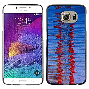 LECELL--Funda protectora / Cubierta / Piel For Samsung Galaxy S6 SM-G920 -- Red Winter Glass Refraction Blue Pattern --