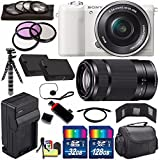 Sony Alpha a5100 Mirrorless Digital Camera with 16-50mm Lens (White) + Sony E 55-210mm f/4.5-6.3 OSS E-Mount Lens 160GB Bundle 26 - International Version (No Warranty)