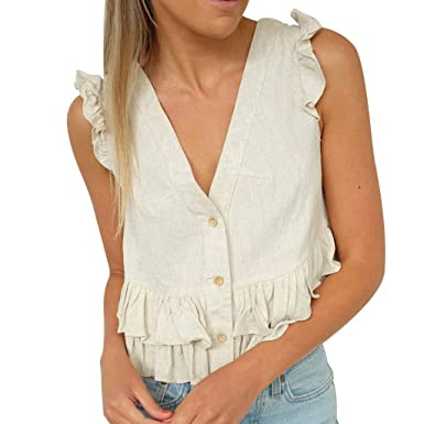 Amazon.com  Staron Women s Ruffles Linen Shirt Sleeveless Button Crop T- Shirt Hem Solid V-Neck Casual Tank Top Blouse  Clothing