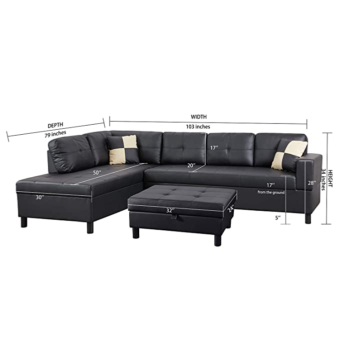 Stupendous Flashbuy Sofa Sectional Sofa L Shape Faux Leather Sectional Sofa Couch Set With Chaise Ottoman 2 Toss Pillow Using For Living Room Gmtry Best Dining Table And Chair Ideas Images Gmtryco