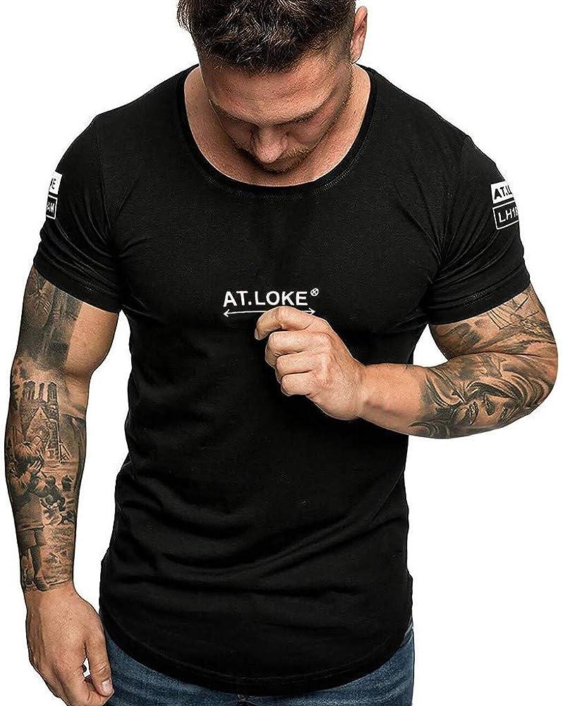Barkoiesy Camiseta para Hombre - con Estampado - Cuello Redondo - Deporte - BK050287: Amazon.es: Ropa y accesorios