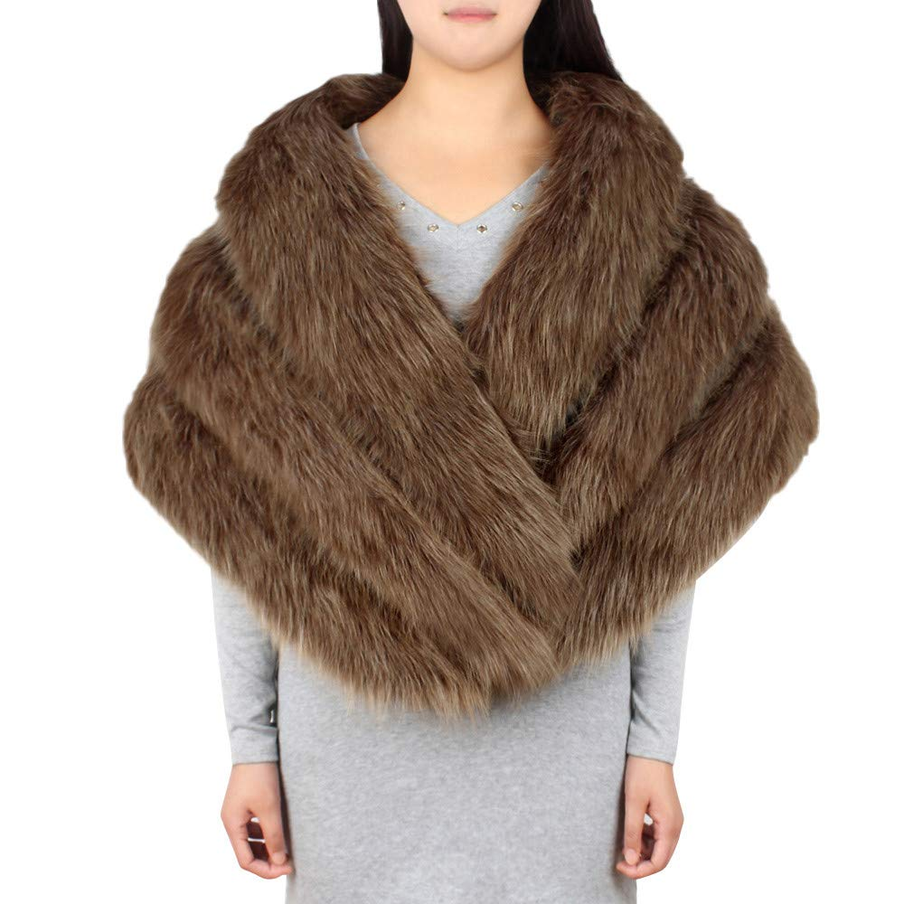 GREFER Faux Fur Shawl Wrap Stole Shrug Winter Bridal Wedding Evening Party Cover Up (Brown) by GREFER