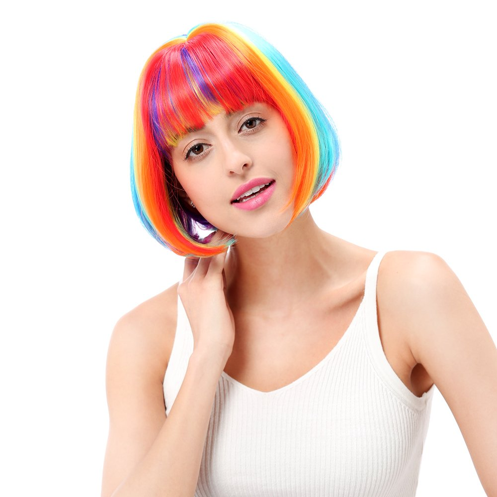STfantasy Perücke Damen mehrfarbig bob glatt gerade wig mit pony bangs wig für Halloween Cosplay Karneval Kostümparty GF-W1028#Rainbow-UKFBA