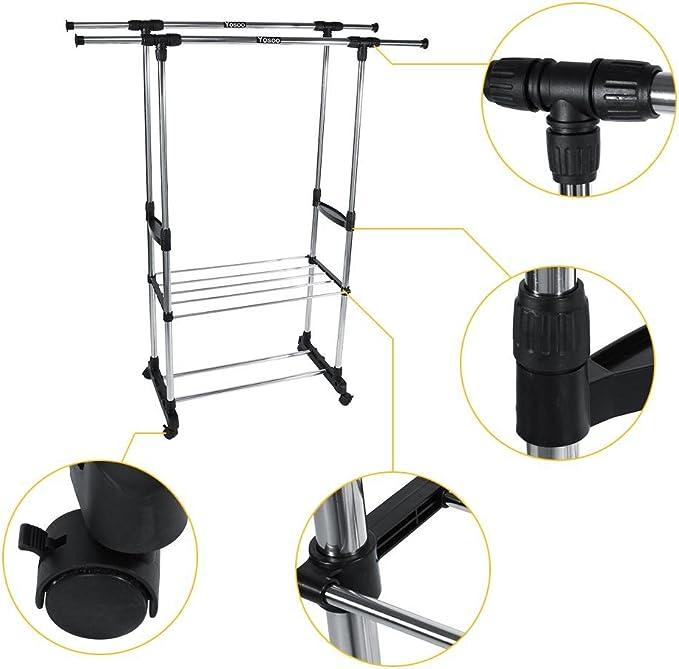 GOTOTOP Stand Appendiabiti Stender Attaccapanni con Ruote,Barre Inferiori per Scatole e Scarpe Organizzazione,Altezza Regolabile 90-160cm