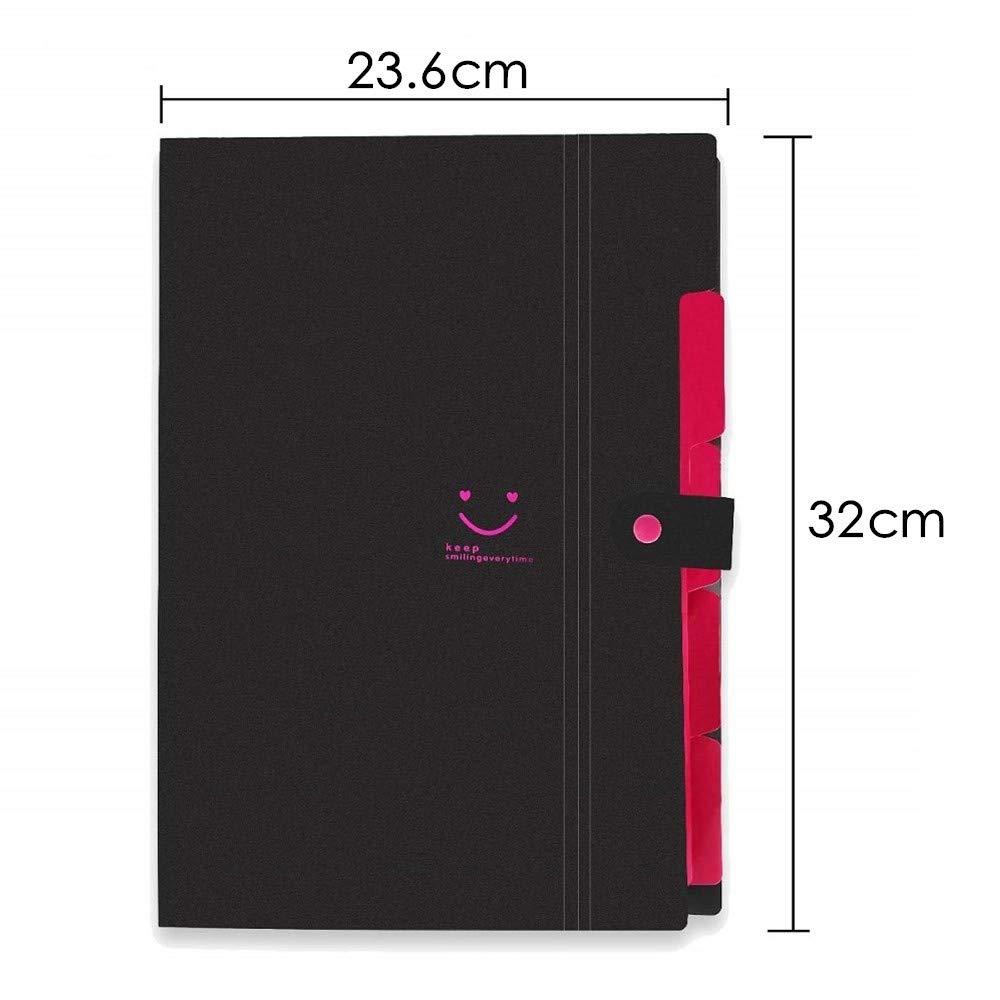 Cartella Espandibile di Documenti A4 Office /& Scuola e Uso Domestico con Bottone a Pressione 5 Tasche Cartella di File