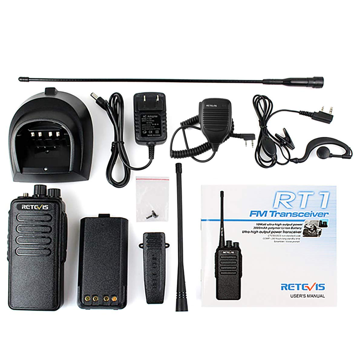 2 Pack LYSB00PJXLX4U-SPRTSEQIP Retevis RT1 High-Power UHF Rechargeable Two-Way Radio 70CM 16CH VOX Scrambler Handheld Transceiver with Earpiece and Speaker Mic