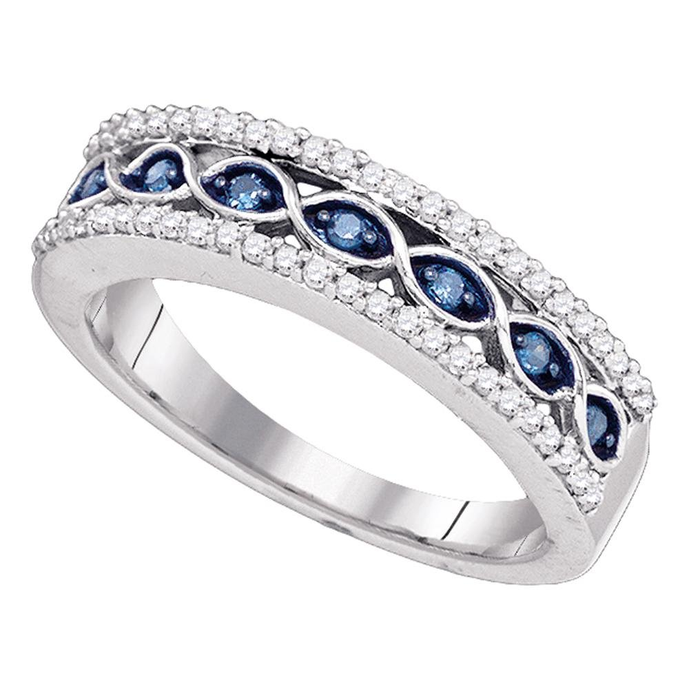 Fancy Blue Diamond Wedding Band Solid 10k White Gold Fashion Ring Semi Eternity Style Round Wave 1/3 ctw