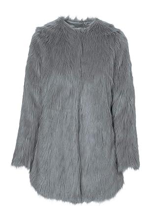 38937f0a966 Ellos Women s Plus Size Faux Fur Snap Front Coat at Amazon Women s ...